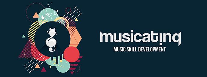 Banner tervezés a Musicating zenei alkalmazás számára