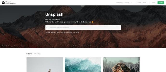 Unsplash ingyenes stock fotó oldal